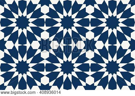 Geometric Islamic Seamless Pattern For Decoration Greeting Card Or Interior Based On A Tenfold Tradi