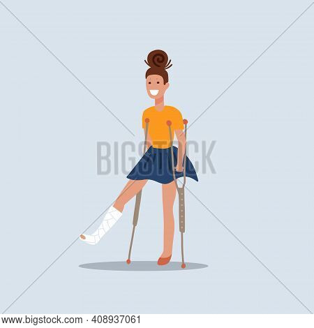 Smiling Brunette Girl On Crutches With Broken Leg. A Cheerful Young Woman Who Is Recovering. Flat Ed