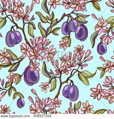 Seamless Pattern With Plum-purple Fruits And Flowers, Buds, Leaves. Flowering Branch With Plums. Sum