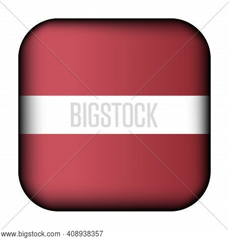 Glass Light Ball With Flag Of Latvia. Squared Template Icon. Latvian National Symbol. Glossy Realist