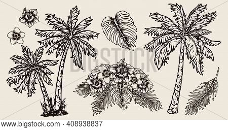 Tropical Hawaiian Vintage Composition With Exotic Flowers Palms And Floral Bouquet In Monochrome Sty
