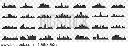 Silhouettes Of City Doodle Set. Collection Of Hand Drawn Dark Silhouettes Of Buildings And Landscape