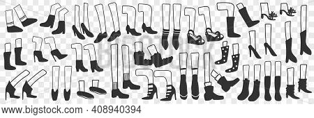 Boots And Shoes Doodle Set. Collection Of Hand Drawn Human Footwear Boots Shoes Of Sportive Style An