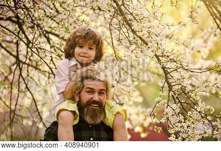 Fathers Day. Child Having Fun With Dad. Happy Family. Little Boy And Father In Nature Background. Sp