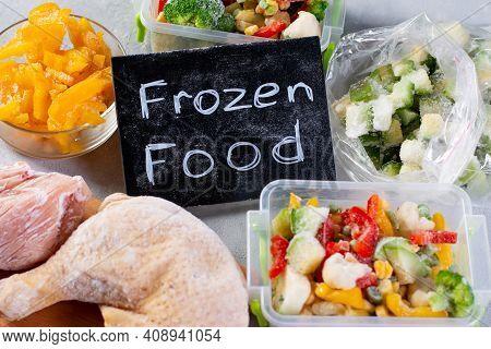 Multi-colored Frozen Vegetables, Frozen Meat. Frozen Food