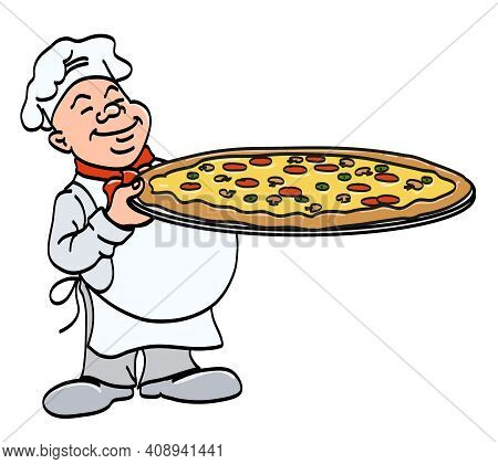Cook With Pizza - Chef Holding A Big Tray With Pizza, Cartoon Color Vector Illustration