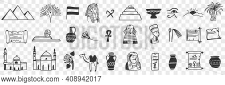 Sightseeings Of Egypt Doodle Set. Collection Of Hand Drawn Egyptian Traditional Pyramids Mosques Pha