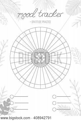 Printable A4 Paper Sheet With Circle With Blank Lines To Fill And Tropical Leaves. Minimalist Planne