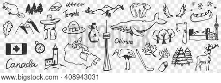 Canadian Symbols And Signs Doodle Set. Collection Of Hand Drawn Canadian Traditional Maple Leaf Flag