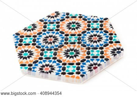 Ceramic cup coaster, Andalusian ornament, isolated on white background
