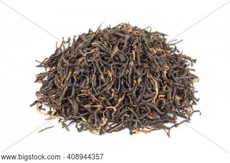 Premium quality red tea from Ansi, China, isolated on white background