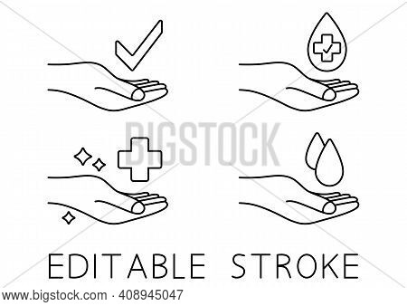 Hand With Water Drop And Medical Cross. Wash Hands Symbol. Antibacterial Icons. Skin Care Sign. Icon