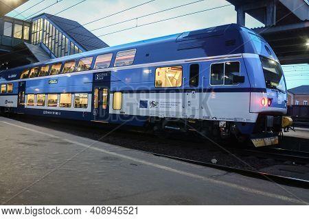 Ostrava, Czechia - April 5, 2014: Double Decker Train, A City Elephant, Ready For A Commuter Suburba