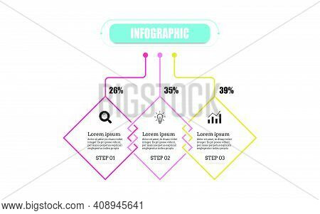Square Presentation Business Infographic Template With Three Options. Timeline 3 Point Banner Elemen