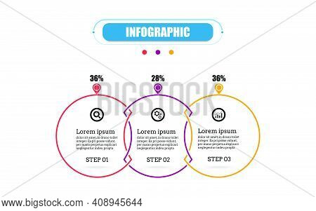 Circle Presentation Business Infographic Template With Three Options. Business Concept Thin Line Fla