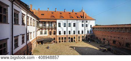 Mir, Belarus - August 11, 2017: Inner Courtyard Of Mir Castle, Belarus. Courtyard Of The Fortress. U