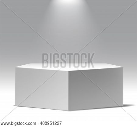 Museum Exposition, Blank Product Stand. Big Wide Realistic Vector Five Angle Podium With Spot Light