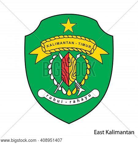 Coat Of Arms Of East Kalimantan Is A Indonesian Region. Vector Heraldic Emblem