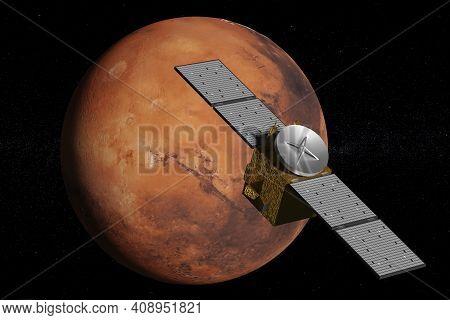 Probe Orbiting The Planet Mars. 3d Illustration.