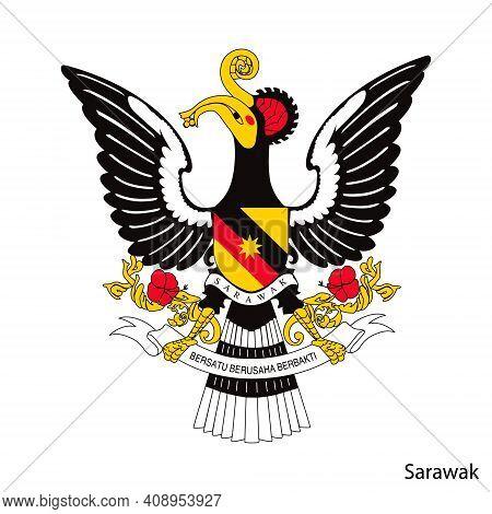 Coat Of Arms Of Sarawak Is A Malaysian Region. Vector Heraldic Emblem