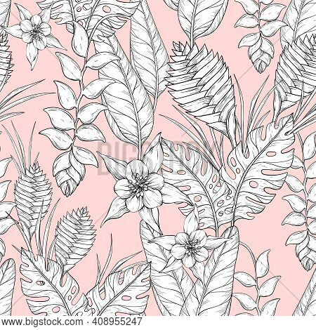 Vector Seamless Monochrome Floral Pattern With Hand Drawn Jungle Leaves And Exotic Flowers. Heliconi