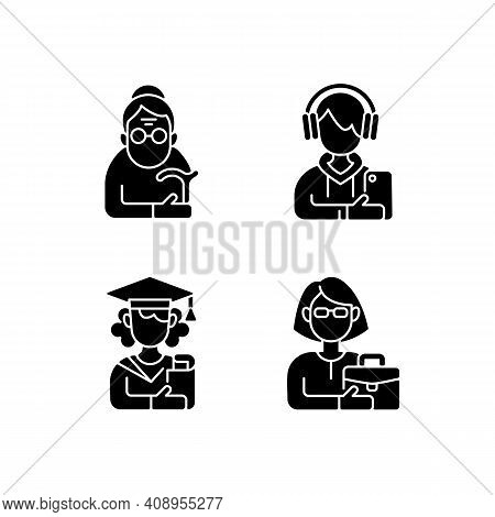 Age And Gender Differences Black Glyph Icons Set On White Space. Female Pensioner. Male Teenager. Ad