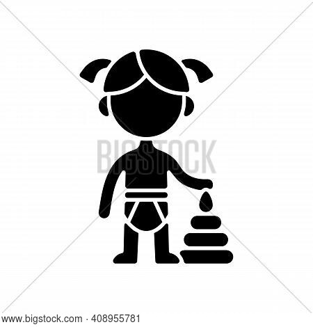 Female Toddler Black Glyph Icon. Toddlerhood. Preschool Years. Cognitive, Emotional And Social Devel