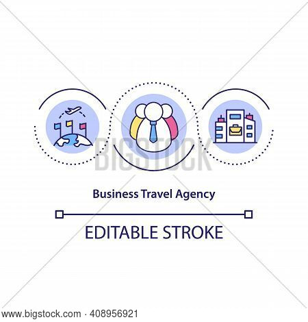 Business Travel Agency Concept Icon. Organising Trips For People Travelling In Professional Capacity