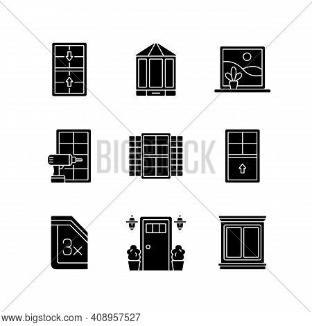 Installation Services Black Glyph Icons Set On White Space. Double-hung Windows. Entry Doors. Extend