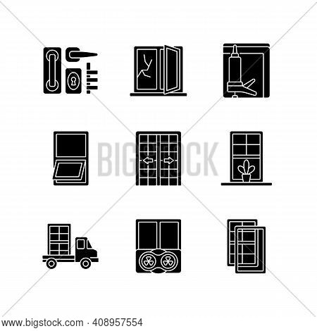 Window And Door Installations Black Glyph Icons Set On White Space. Locks And Levers. Fixing Cracked