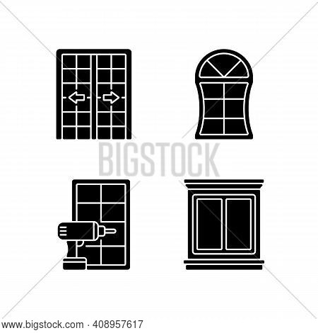 Replacement Door Opportunity Black Glyph Icons Set On White Space. Patio Doors. Unique Styles And Fe