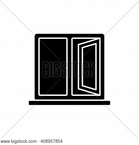 Casement Windows Black Glyph Icon. Movable Window. Preventing Unwanted Airflow Into House. Ventilati