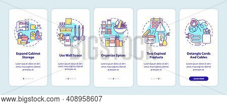 Decluttering Tips Onboarding Mobile App Page Screen With Concepts. Clutter To Pile Up In Home Walkth