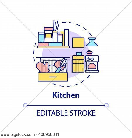 Cooking Area Concept Icon. Kitchen Decluttering Checklist And Advices Idea Thin Line Illustration. H