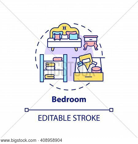 Bedroom Concept Icon. Spring-cleaning Idea Thin Line Illustration. Room For Sleep And Relax. Airing