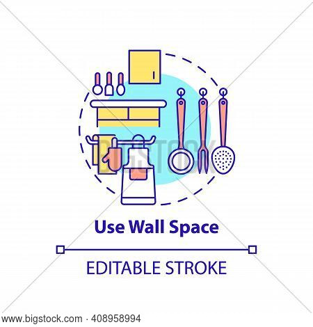 Use Wall Space Concept Icon. Hanging Dishes And Cookware On Wall Idea Thin Line Illustration. Cleani