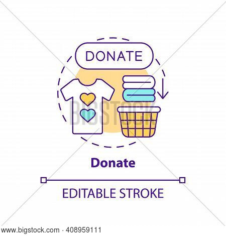 Donate Concept Icon. Helping Person In Need Idea Thin Line Illustration. Things For People Who Need