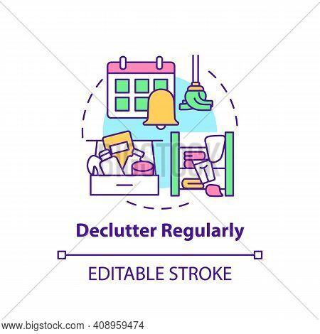 Declutter Regularly Concept Icon. Habits To Prevent Clutter Idea Thin Line Illustration. Declutter O