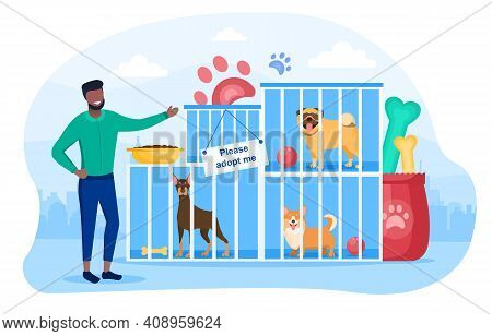 Male Character Is Working In Dog Shelter. Homeless Dogs In Cages Are Waiting To Be Adopted. Concept