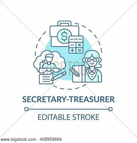 Secretary Treasurer Concept Icon. Company Top Management Jobs. Controlling All Financial Transaction