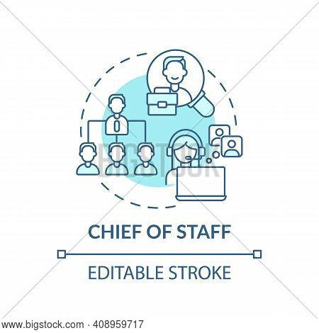 Chief Of Staff Concept Icon. Company Top Management Jobs. Advisor To Chief Executive. Businessman Id