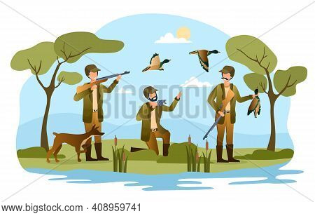 Three Male Hunters With Prey. Hunter Friends With Dog, Guns, Binoculars. Male Characters Are Trying