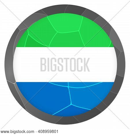 Glass Light Ball With Flag Of Sierra Leone. Round Sphere, Template Icon. National Symbol. Glossy Rea