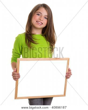 child smiling girl with blank white frame copy space white blackboard happy