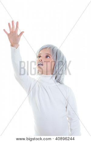 beautiful futuristic kid girl futuristic child with gray hair open hand in white