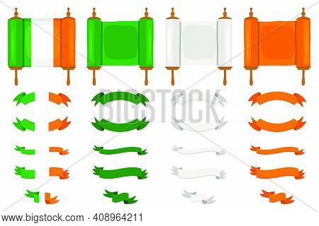 Irish Holiday St Patrick Day, Big Set Scrolls Paper Ribbon. St Patrick Day Consisting Of Many Differ