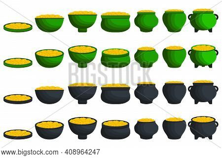 Illustration On Theme Irish Holiday St Patrick Day, Coins In Pot. Pattern St Patrick Day Consisting