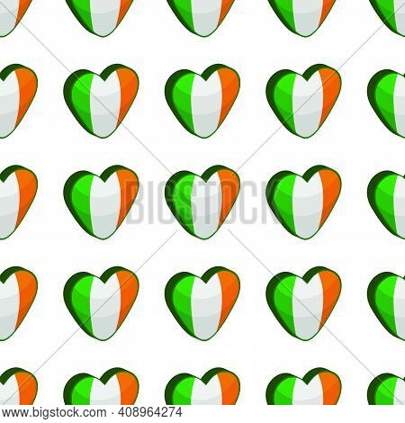 Illustration On Theme Irish Holiday St Patrick Day, Seamless Color Hearts. Pattern St Patrick Day Co