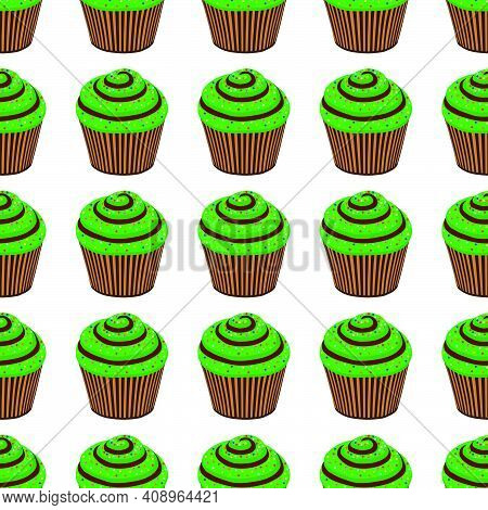 Illustration On Theme Irish Holiday St Patrick Day, Seamless Green Muffins. Pattern St Patrick Day C