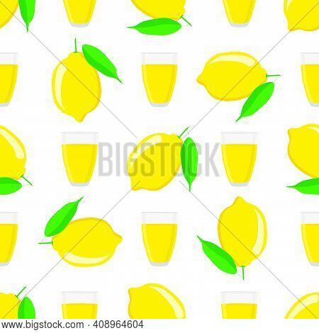 Illustration On Theme Big Colored Lemonade In Lemon Cup For Natural Drink. Lemonade Pattern Consisti